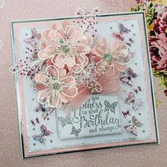 Flower Birthday Cards, Flower Cards, Chloes Creative Cards, Steampunk Cards, Stamps By Chloe, Diy Cards, Handmade Cards, Parchment Cards, Shaker Cards