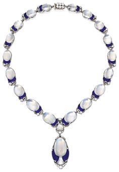 Platinum, Moonstone, Lapis Lazuli and Diamond Necklace, Tiffany & Co., Designed by Louis Comfort Tiffany. Diamond Pendant, Diamond Jewelry, Gemstone Jewelry, Jewelry Necklaces, Geek Jewelry, High Jewelry, Jewelry Ideas, Edwardian Jewelry, Antique Jewelry