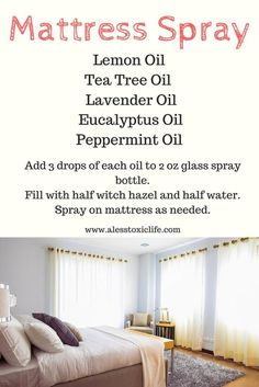 Essential Oil blend for cleaning and disinfecting your mattress. Helps get rid of bed bugs.