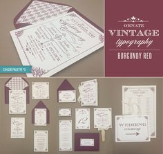 DIY Ornate Vintage wedding invitation collection in burgundy red - includes 15 printable pieces! From #DownloadandPrint