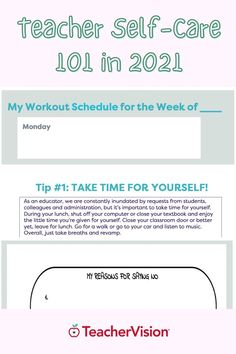 Here are 6 life-saving teacher self-care tips and graphic organizers so you can take care of yourself while teaching through a pandemic. This interactive workbook is designed so you can easily apply the tips and strategies included to alleviate day-to-day stress and build a healthier, happier you in 2021! First Year Teachers, New Teachers, Teaching Strategies, Teaching Tips, Workout Schedule, Teacher Hacks, Graphic Organizers, Saving Tips, Teacher Resources