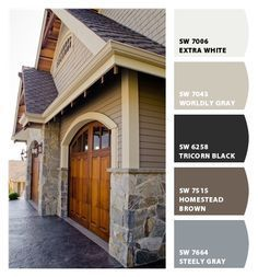 Best exterior paint colors for house with porch garage doors Ideas Exterior House Colors Combinations, Exterior Siding Colors, Exterior Paint Schemes, Best Exterior Paint, House Paint Exterior, Brown Brick Exterior, Craftsman Exterior Colors, Paint Combinations, Gray Exterior