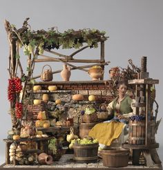 IDEE PER PRESEPE - SCENA Medieval Houses, Medieval Town, Medieval Market, Christmas Nativity Scene, Christmas Villages, Putz Houses, Fairy Houses, Fontanini Nativity, Dolls House Shop