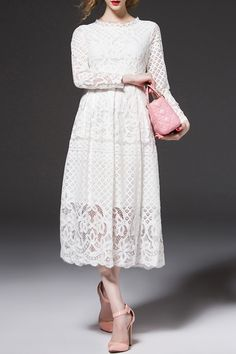 Openwork Lace Hook Midi Dress