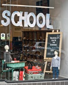 back to school window theme...use large frame with chalk paint