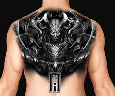 Back piece tattoo design  devil skull hell  scarry creepy devils