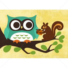 116M Modern Owl and Squirrel on Tree Branch Print 5x7. $15.00, via Etsy.
