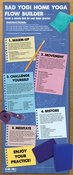 Check it out! Erin Motz at Bad Yogi has this awesome infographic so you can build your own at home yoga flow!