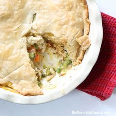 World's easiest chicken pot pie! Use rotisserie chicken and other shortcuts for this weeknight dinner.Video recipe included.