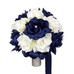 """10"""" Bouquet: Navy Blue and Ivory Roses Wedding Bouquet- sub gardenias instead of white roses"""