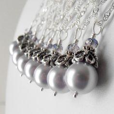 Pale Lavender Bridal Jewelry Swarovski Pearl Wedding Jewelry in Antiqued Silver Lavender Bridesmaid Necklaces Light Purple Pearl Pendant
