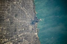 Chicago and Its Loop.  Photo taken from the International Space Station.