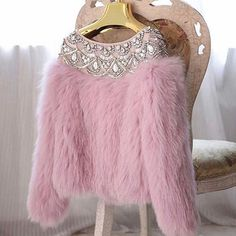 Cozy pink sweater with bling and fur. Fur Fashion, Winter Fashion, Fashion Dresses, Womens Fashion, Fashion Clothes, Ladies Fashion, Barbie Mode, Mode Chic, Clothing Websites