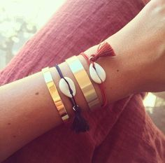 Manon and Molly bangle + Lauranne shell bracelets by Les Soeurs