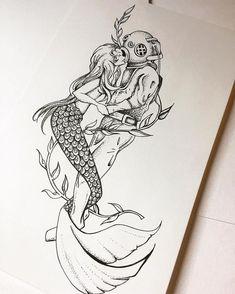 doodle art Mermaid and Scuba diver # - art Mermaid Sketch, Mermaid Drawings, Mermaid Tattoos, Mermaid Art, Mermaid Paintings, Vintage Mermaid, Nautical Drawing, Nautical Art, Tattoo Drawings