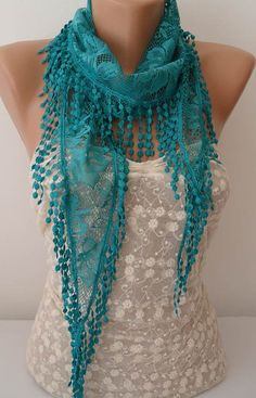 ON SALE Turquoise Scarf Cowl Scarf Womens by JasmineAccessory, $9.90