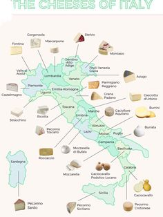 The Iconic Cheeses of Italy MAP: The Iconic Cheeses of Italy. Famous cheeses from every region of Italy.MAP: The Iconic Cheeses of Italy. Famous cheeses from every region of Italy. Italy Map, Italy Travel, Italy Italy, Sorrento Italy, Capri Italy, Naples Italy, Tuscany Italy, Venice Italy, Brian Boitano