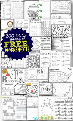FREE Worksheets - over 200000 pages of free printable worksheets for elementary age kids including alphabet counting numbers math worksheets addition subtraction science worksheets history worksheets and so much more! Free Worksheets For Kids, Homeschool Worksheets, Science Worksheets, Free Printable Worksheets, Homeschooling Resources, Number Worksheets, Printable Quotes, Printable Art, Alphabet Worksheets For Kindergarten