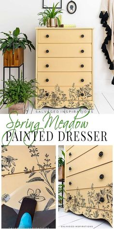 Spring Meadow Painted Dresser PIN Furniture Legs, Furniture Makeover, Painted Furniture, Diy Furniture Tutorials, Furniture Projects, Chalk Paint Techniques, Yellow Springs, Wall Patterns, Floral Motif