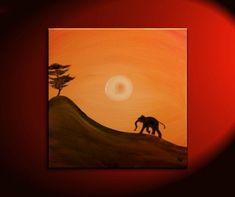 African Baby Elephant Silhouette Painting Acacia Tree Art Original Hill and Sun Orange Yellow Custom 30x30