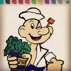 Popeyes loves spinach / popeye marine cartoon manga anime comics / 뽀빠이 만화 시금치 마린룩