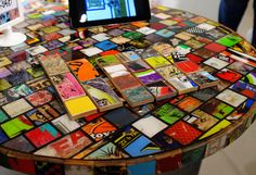 Table made with broken skateboards