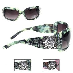 Montana West Camo Sunglasses with Floral Rhinestones