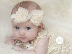 Ivory Baby Headband Headband baby girl by ThinkPinkBows on Etsy, $8.95