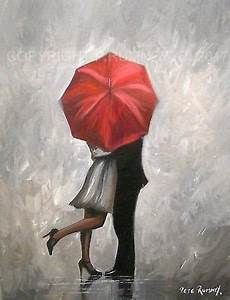 Pete Rumney Art Original Canvas Painting Couple Red Umbrella Rain Kissing Signed painting canvas ...