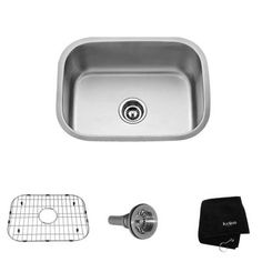 KRAUS All-in-One Undermount Stainless Steel 23-1/2 in. 0-Hole Single Bowl Kitchen Sink-KBU12 at The Home Depot