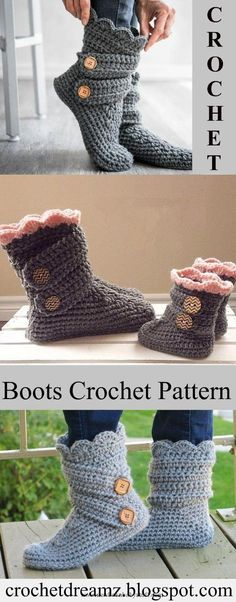 Baby Knitting Patterns Woman's Slipper Boots Crochet Pattern, Classic Snow Boot...