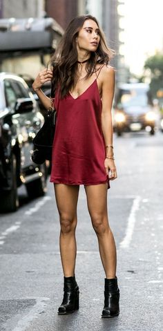@roressclothes closet ideas #women fashion outfit #clothing style apparel little Red Slip Dress #cluboutfits
