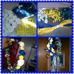 Gold,blue, white