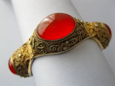 A Chinese sterling vermeil and natural Carnelian bracelet from the 1940's.