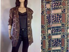 Baroque Jacket / Leopard Blazer /  90s silk by sixcatsfunVINTAGE