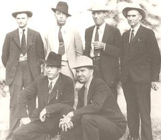 Law Enforcement Officers who killed Bonnie and Clyde. Standing: Prentis Oakley (who fired the first shots), Ted Hinton, Bob  Alcorn, and Manny Gault. Kneeling: Frank Hamer and Henderson Jordan