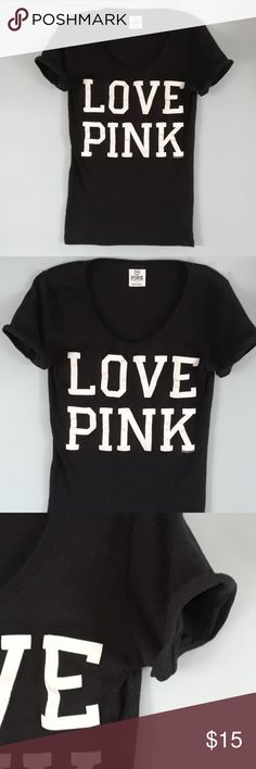 Victorias Secret Love Pink tee shirt size S Victorias Secret black LOVE PINK tee shirt size small  Cute shirt in good condition, just some lint. PINK Victoria's Secret Tops Tees - Short Sleeve