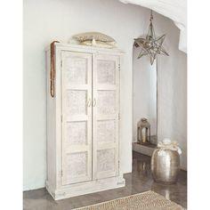 Armoire en manguier blanche effet vieilli L 90 cm Taj   Maisons du Monde