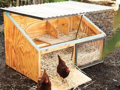 Get the free plans for for an ultra-stylish DIY chicken coop from the fantastic book of chicken coop designs, Reinventing the Chicken CoopWe built two Icebox chicken coops with City Slicker Farms in West Oakland, California. The coops now reside in … Small Chicken Coops, Easy Chicken Coop, Diy Chicken Coop Plans, Chicken Coup, Portable Chicken Coop, Chicken Coop Designs, Backyard Chicken Coops, Building A Chicken Coop, Chicken Runs