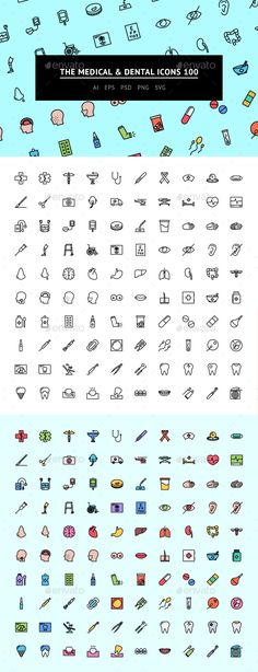The Medical & Dental Icons 100 — Photoshop PSD #medicine #teeth • Available here → https://graphicriver.net/item/the-medical-dental-icons-100/15612573?ref=pxcr