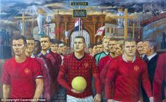 Work of art: Michael Browne has completed this painting of Manchester United players past and present