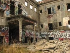 Western State Mental Hospital in Lakewood, Washington - The ruins are located in Fort Steilacoom County Park at the end of the parking lot, along a path which winds through heavy woods until you see them on the hill.