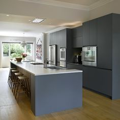 Roundhouse bespoke kitchen island in contemporary kitchen