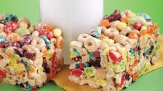 Cheerios and Trix No Bake Treat Bars - There are no tricks to making easy no-bake bars.  Just use your favorite cereals!