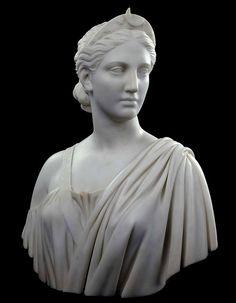 Hiram Powers (Woodstock, Vermont 1805 - Florence, Italy Diana Washington D. Ancient Greek Sculpture, Greek Statues, Artemis Tattoo, Diana Statue, Roman Sculpture, Art Antique, Roman Art, Classical Art, Portrait