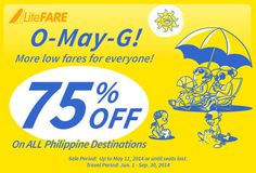 75 Percent Off on All Cebu Pacific Philippine Destinations.