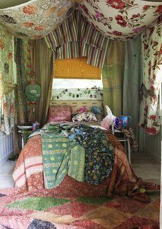 Bohemian gypsy bedroom tented in florals