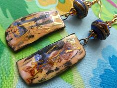 Homage To Joan Mitchell, Contemporary Boho Ceramic Earrings, One Of A Kind Artisan Made, JosephineBeads, silverfishdesigns, Northernblooms
