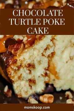 Chocolate Turtle Poke Cake. Moist, gooey, full of yummy flavor and so easy to make! #cake #turtlepokecake #cake #pokecake #momskoop #CupcakeBirthdayCake Turtle Poke Cake Recipe, Poke Cake Recipes, Donut Recipes, Candy Recipes, Cupcake Recipes, Cookie Recipes, Snack Recipes, Dessert Recipes, Best Birthday Cake Recipe