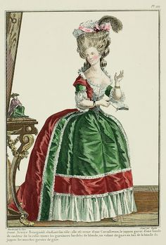 Galerie des Modes, 28e Cahier, 5e Figure Young Bourgeois Actress studying her role; she is dressed in a Circassienne, the petticoat trimmed with a band in the color of the gown: all the trims are bordered with a blonde lace, a volant of gauze at the bottom of the band on the petticoat: the sleeves trimmed with gauze. (1780)